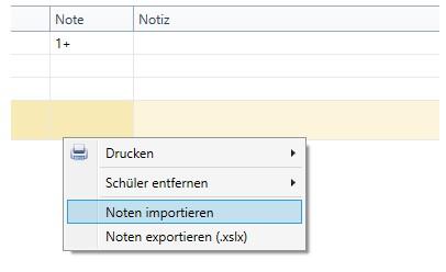 Notenliste Kontext-Menü -> Noten importieren